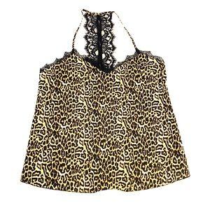 NWT Jessica Simpson leopard print silk lace cami